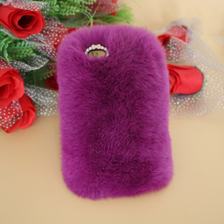 NEW 3D Luxury Winter Warm Rabbit Fur leather Case Back Cover For iPhone