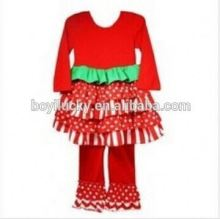 Wholesale Polka Dot Christmas Ruffle Dress clothes Baby Girls New Chrismas Design Outfits Ruffle Tshirt And Pant Cotton Clothes