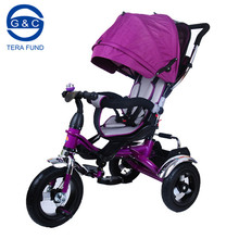 portable high end steel kids 3 wheel tricycle with roof and seat rotation