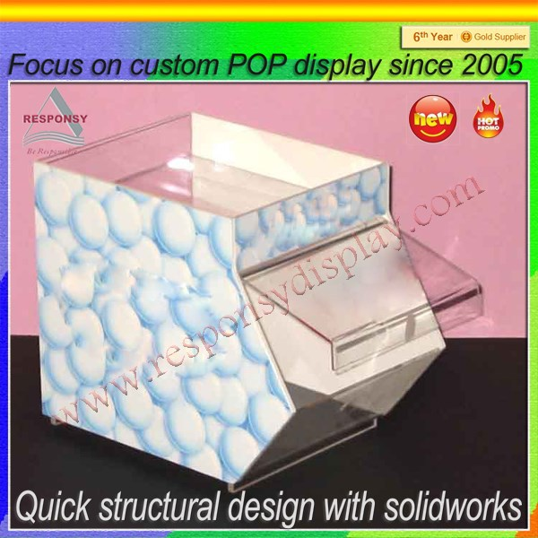 Custom design acrylic bulk food candy store dispenser display