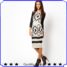 2014 new trendy fashion desinger women printed Midi Column Dress With Leather Look Sleeve party evening dress shkl27