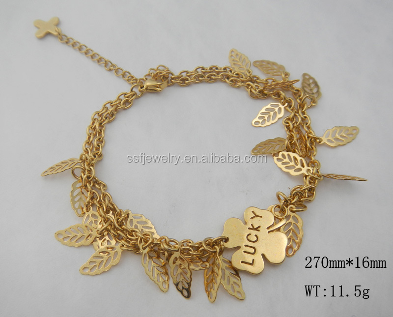 SSB0140 Gold Plated Stainless Steel Lucky Leaf Shape Women Charm Bracelet
