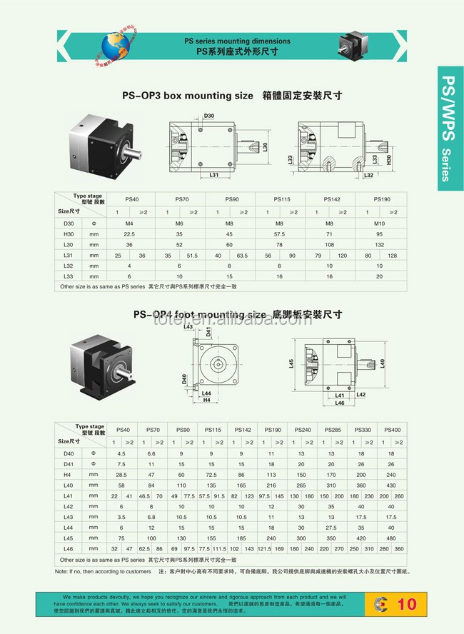 PS WPS Series Precision Planetary gearbox for servo motor