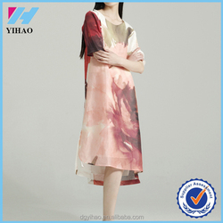 Yihao elegant women linen&silk floral printed casual loose very comfortable long Dress