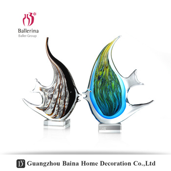 Hand Blown Animal Sculpture Glass Art Gold Figurine Fish Collection for Home Decor