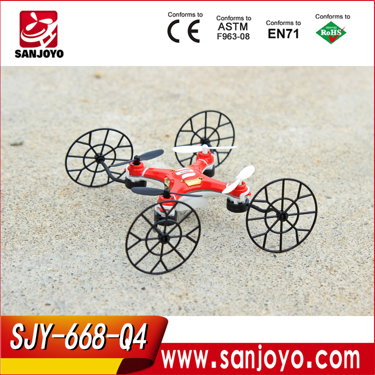 nano Rc toys 4 in 1 climbling wall Mini drones with wheels 2.4G 4CH 6axis RC UFO white red SJY-668-Q4