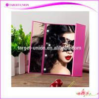 2016 New style three-sided cordless LED lighted desktop makeup mirror with free adjusting