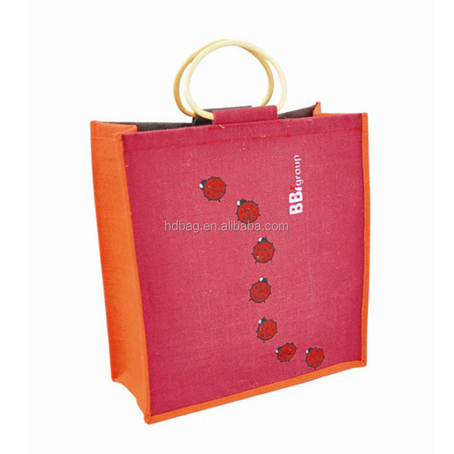 Promotional Printing Jute Red Wine Gunny for Hot sale 2015