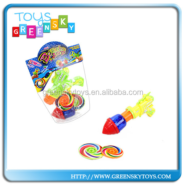 Plastic flying saucer gyroscope toy flying saucer gun toys