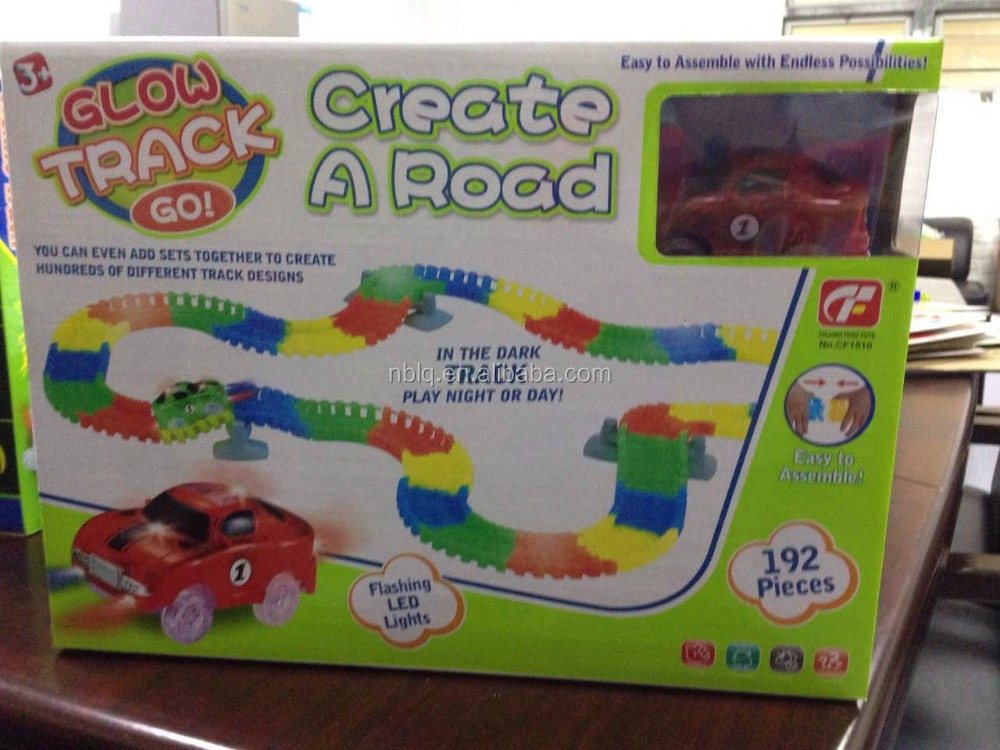 (192piece) 12' Glow in the Dark Track with 2 Light-Up SUVs,magic track car toy,Magic Track Toys
