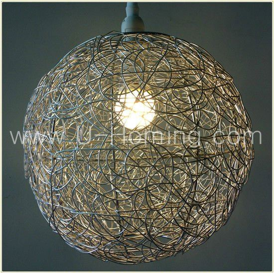 Silver Shade Wire Chandelier Crystal Pendant Light Modern