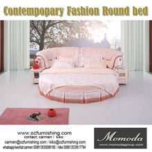 8027 Bedroom Furniture Modern Design White Leather Round Bed for Hotel