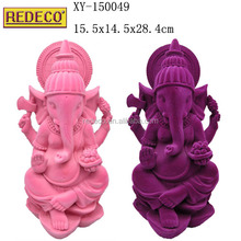 Wholesale handpainted figurine sculpture resin flocking Ganesha statue
