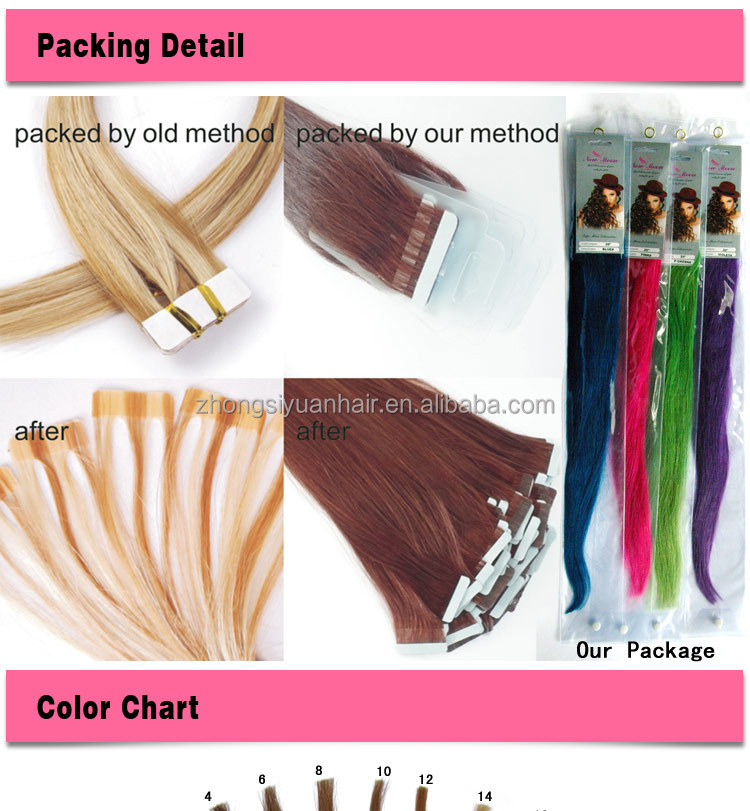 ZSY wholesale top quality factory direct sell curly tape hair extensions