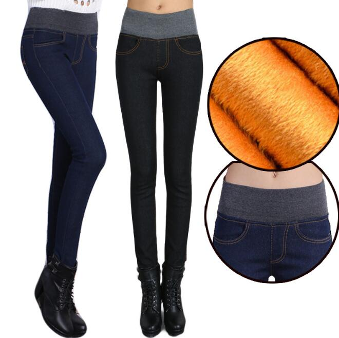 zm52793a 2016 hot pants tight jeans lady narrow feet jeans with fur inside