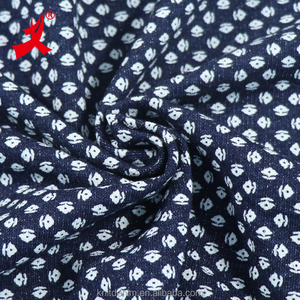 indigo 100% cotton french terry butterfly discharge print knitting denim fabric