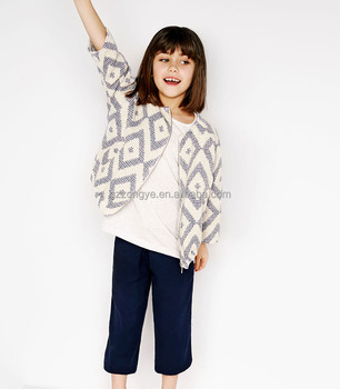 89% cotton Shiny Jacquard kids Jacket with a round neck
