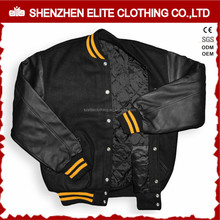 wholesale college wool body leather sleeve varsity letterman jacket