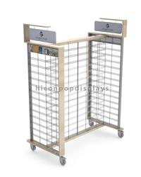 Flooring metallic hanging bags store display gondola unit