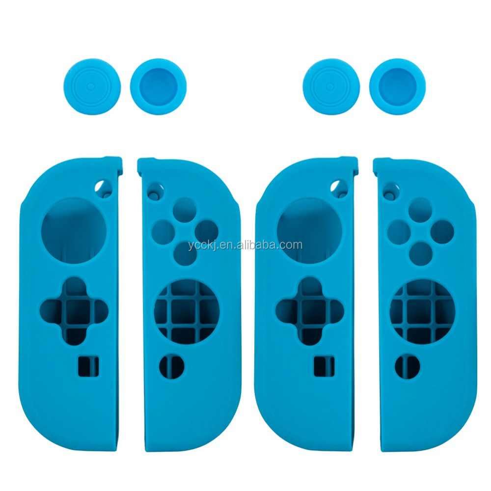 Silicone case cover skin with 2 pieces thumb grips for Nintendo switch Joy-Con controllers