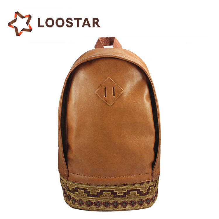 Wholesale Factory Direct Cheap Brown Vintage PU Leather Satchel Rucksack Ethnic Style Backpack Ruck Sack for Men Teenagers
