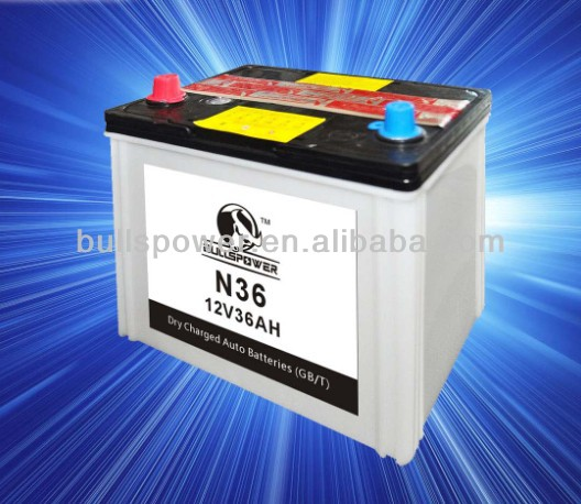 dry charged car battery 12v36ah,N36 battery for car