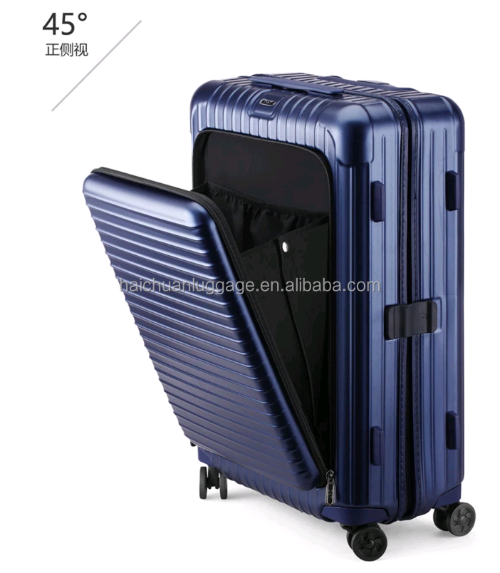 2018 New design 20 24 26 28 inch travel luggage carry on case with front pocket hinomoto wheel
