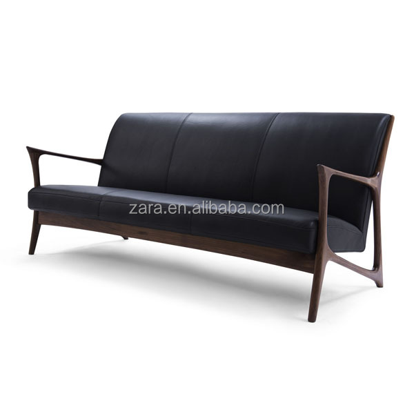 Solid American Walnut wooden settee loveseat rustic nordic sofa