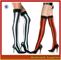 Hot Wholesale Women Lace Black Silk Stockings Sexy Vertical Wide Striped Thigh High Stockings Halloween