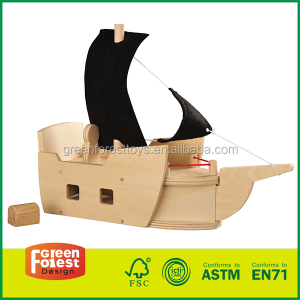 DIY Unfinished Wood Toy Pirate Ship diy doll house