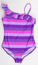 Sexy purple stripe one piece bathing suit for children wear