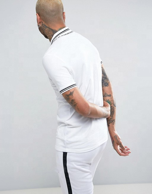 KY wholesale Polo collar Button placket Contrast tipping Fitted cuffs polo tshirt Tipping Collar And Cuff Pique white Polo Shirt
