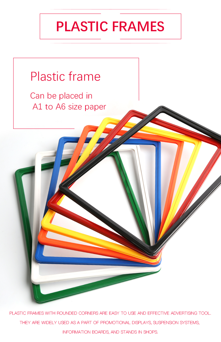 Plastic Advertising Poster Frame with  pocket
