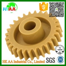 TS16949 certified precision machined POM PEEK PA PC ABS PBT PPO yellow plastic spur gear custom spur gear with shaft mounted