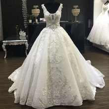 Round-neck Applique Lace Sequins Wedding Dress Real Sample