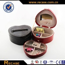 Wooden materials faux leather jewelry boxes with lock