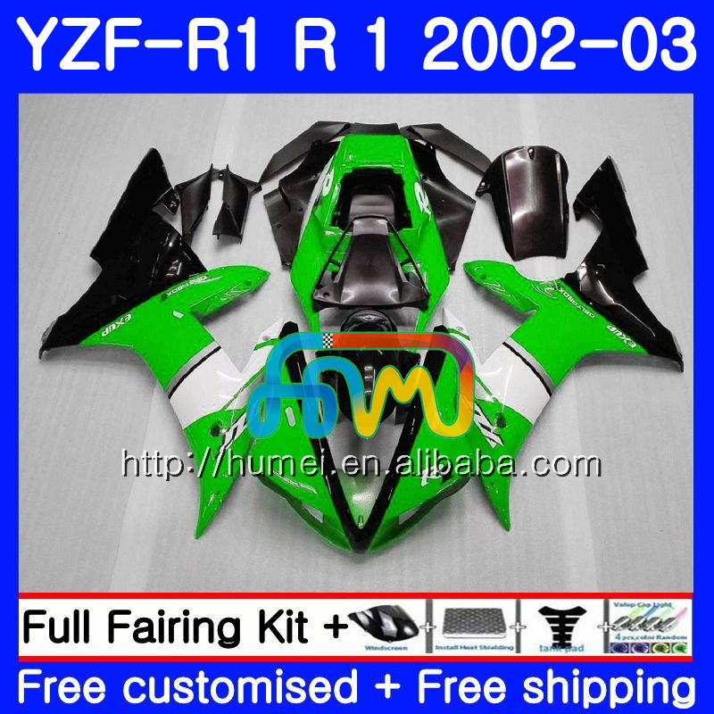Body For YAMAHA YZF 1000 YZFR1 <strong>02</strong> <strong>03</strong> YZF-1000 Bodywork green black 99HM1 YZF R 1 YZF <strong>R1</strong> <strong>02</strong> <strong>03</strong> YZF1000 YZF-<strong>R1</strong> 2002 2003 <strong>Fairing</strong>