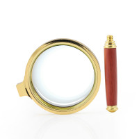BJ65063 Hand Held Antique Magnifier, Wooden Handle Magnifying Glass