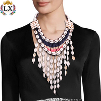 NLX-00173 handmade shell necklace jewelry cowrie shell tassel colorful seed bead necklace boho fabric necklace jewelry