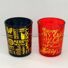 Christmas Paper decal spraying color glass candle holder Handmade glass candle holders tea light holders