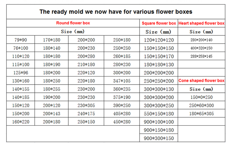 Fancy luxury cardboard rectangle rose flower boxes custom design
