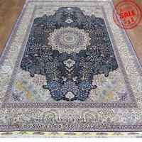 6x9ft Deep Blue Silk Artwork of Hand Knitted Silk Rug For Sale