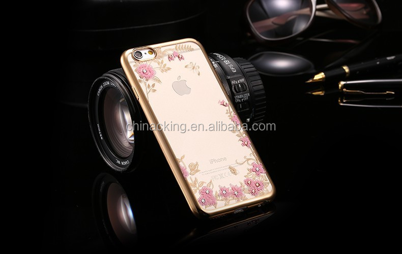 Flower Bling Soft TPU Clear Phone Back Cover Case for Apple iPhone 7/ 7 Plus