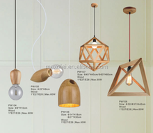 Modern Style E27 E26 Mini Pendant Lights Vintage Bamboo Wooden pendant light
