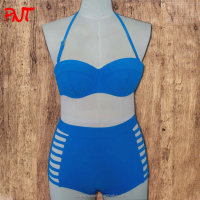 wholesale high waist swimwear blue hot sexy girl photo bikini