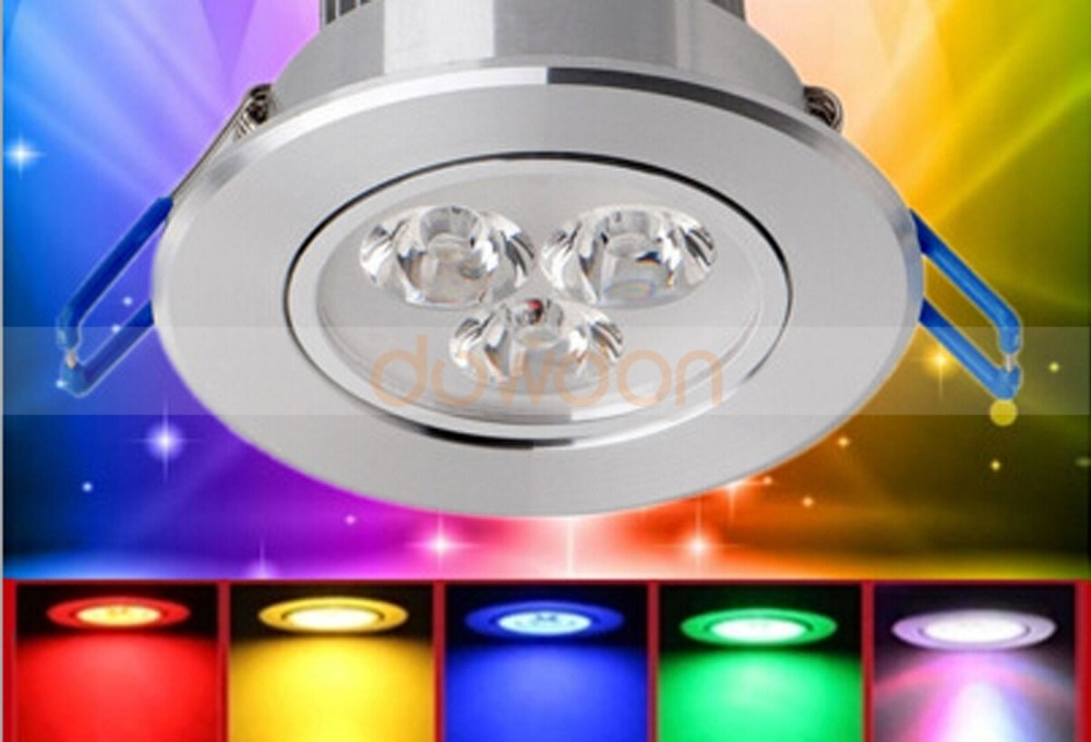AC85V-265V 3W LED RGB Ceiling Light 220V Led Spot Down Light with Remote Controller Wall Lamp