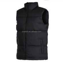 Sleeveless Down Filled Black Polo Bubble Vest Jacket For Mens