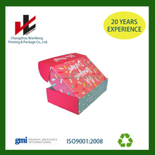 Pink color silver logo Corrugated Cardboard Box Packaging Custom logo printed recyclable carton shipping boxes