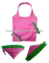 Fruit shape watermelon shape promotional foldable polyester shopping bag with zipper