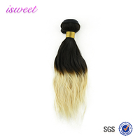 14 inches cheap natural wave virgin indian hair ombre color T1b/613 indian remy human hair weaving